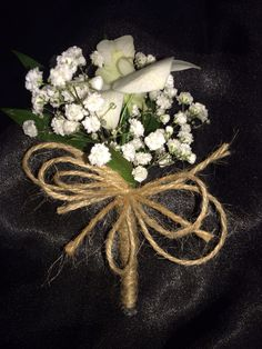 Ladies buttonhole of gyp and orchids Babys Breath and twine boutonniere - grooms men wedding - woodland wedding - button hole
