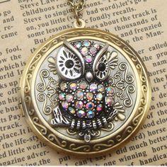 Steampunk Owl Brass Locket Necklace Vintage Style by sallydesign, $24.00