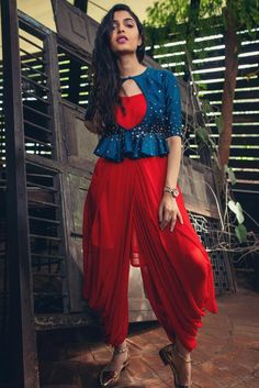 Red Dotti Dress with Cobalt Blue Peplum – Issa Studio Outfit Designer, Designer Party Wear Dresses, Indian Designer Outfits, Funky Dresses, Stylish Dresses For Girls, Stylish Dress Designs, Designs For Dresses, Indian Gowns Dresses, Indian Fashion Dresses
