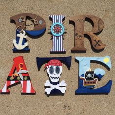 Your place to buy and sell all things handmade Deco Pirate, Pirate Kids, Pirate Theme, Pirate Party, Painted Letters, Wooden Letters, Pirate Bedroom, Pirate Nursery, Boy Room