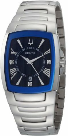 Bulova Men's 96D108 Diamond Blue Dial Bracelet Watch Bulova. Save 54 Off!. $138.29. Curved mineral crystal with blue metalized rim; Pitched bi-finished dauphine hands. Men's diamond dial bracelet watch blue dial. Water-resistant to 99 feet (30 M). Stainless steel case and bracelet. 3 diamonds, calendar