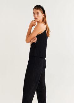 Flowy fabric Pleated design Long design Elastic band on the back Trousers Women, United Kingdom, Mango, Jumpsuit, Dresses, Fashion, Manga, Overalls, Vestidos