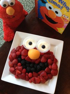 Elmo Fruit Tray - Strawberries, raspberries, blackberries, cantaloupe, blueberries and fruit dip