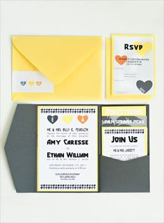 Movie Colony Hotel Wedding with some pretty awesome yellow and gray wedding stationery. Grey Wedding Stationery, Yellow Wedding Invitations, Wedding Invitation Envelopes, Wedding Invitation Design, Invitation Ideas, Hotel Wedding, Chic Wedding, Rustic Wedding, Wedding Suite