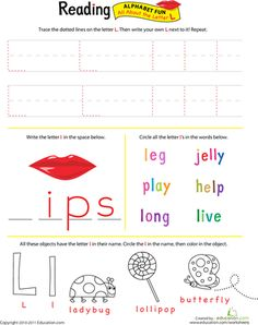 Worksheets: Get Ready for Reading: All About the Letter L
