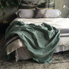 XL French Blue Linen Throw Blanket  Neutral Blanket by MarketLinen
