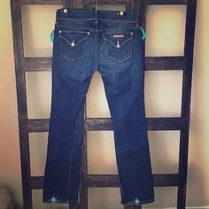 """Hudson jeans Dark wash Hudson jeans. Some stretch. 30"""" inseam. Slight wear on the back of the cuffs. Otherwise in perfect condition. Boot cut. Very figure flattering! I'm 5'3 and they are just slightly too long. Wear at the cuff of each pant leg, but it will vanish if hemmed. Hudson Jeans Jeans Boot Cut"""
