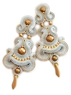Soutache earrings - Clip on earrings - Statement earrings - Christmas gift for wife Gift for girlfriend Black friday etsy Cyber monday etsy