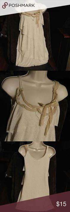 Anthropologie IRIS AND NAVY SMALL dress Beige tiered , tied ribbon around neck, small .sorry no trades Anthropologie Dresses