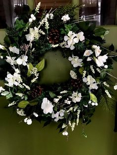 Winter Greenery White Floral Pine Wreath for Door to Replace Christmas Wreath