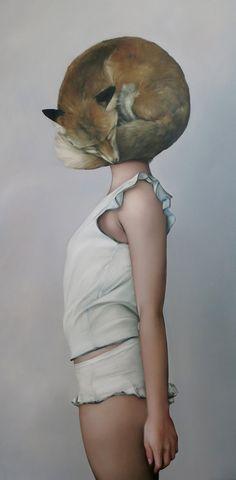 """Huli Jing Helmet"" - Amy Judd, oil on canvas {contemporary figurative artist female fox head standing woman profile painting}"