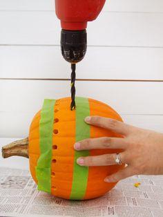 How to Make a Pretty Fretwork Pumpkin Halloween Pierced Pumpkin The post How to Make a Pretty Fretwork Pumpkin appeared first on Halloween Pumpkins. Pumpkin Carving With Drill, Pumpkin Drilling, Pumpkin Carving Party, Simple Pumpkin Carving Ideas, Pumpkin Carvings, Disney Pumpkin Carving, Pumpkin Ideas, Scary Halloween, Halloween Pumpkins