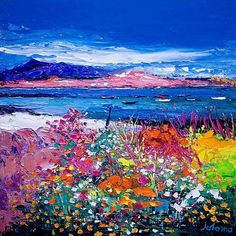 Front Gardens and the Moorings, Iona Art Print by John Lowrie Morrison - WorldGallery.co.uk