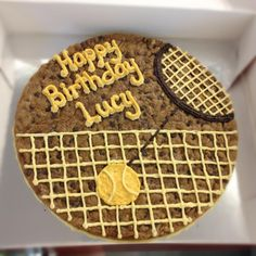 Tennis anyone? Big Cookie Cakes from Mrs. Happy Birthday Lucy, 60th Birthday, Birthday Ideas, Tennis Cake, Tennis Party, Tennis Crafts, Cookie Cake Birthday, Big Cookie, Dessert Recipes