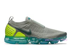 more photos c7d25 d98ef Nike Air VaporMax Flyknit Moc 2 Gris Bleu Chaussures Nike Running Pas Cher  Pour Homme AH7006