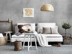 White and stone Ikea living room