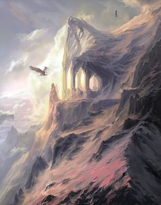 The peaks of the Crissaegrim, wherein the eyries of Thorondor and the great Eagles of the North lay. Mountain Cliff, by Creative Uncut