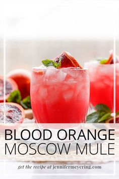 Blood Orange Mule - Try this twist on a traditional moscow mule made with seasonal blood orange juice, vodka, orange liqueur, and ginger beer. Easy Drink Recipes, Best Cocktail Recipes, Drinks Alcohol Recipes, Punch Recipes, Light Recipes, Cooking Recipes, Cocktail And Mocktail, Summer Cocktails, Vodka Cocktails