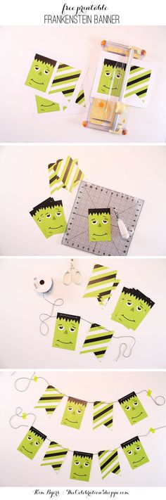 Free Printable Frankenstein Banner for Halloween |  /kimbyers/ #halloween