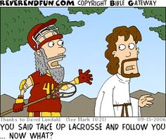 """pick up the cross"" - I just find this funny as a lacrosse player"