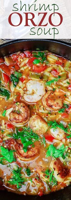 Mediterranean Shrimp Orzo Soup | The Mediterranean Dish. A hearty and healthy orzo soup with vegetables and shrimp. Fresh parsley, dill and oregano give it a wonderful Italian flavor. See this Mediterranean recipe on http://TheMediterraneanDish.com
