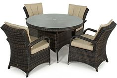 San Diego Rattan Garden Furniture Houston 4 Seater Round Table Set
