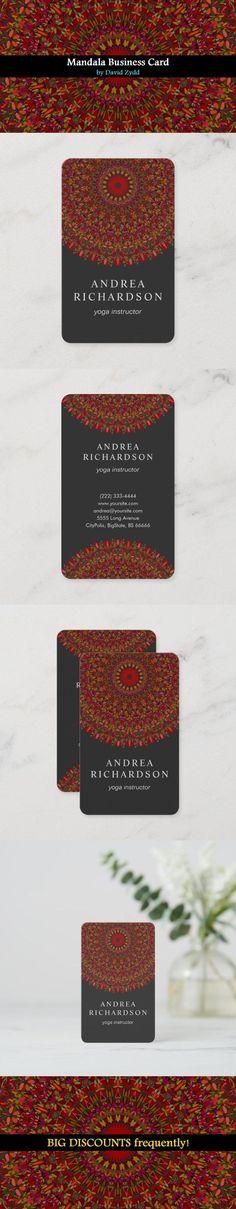 Colorful Flower Mandala Business Card by David Zydd #MandalaBusinessCard #BestBusinessCards #YogaInstructor #Wellness #Teacher (tags: mandala, floral, yoga business card, flower, editable, business card template, decor, personalized, templates, customizable, spa, spirituality, custom, designer, floral art, teacher, counselor, fitness, studio, ornament) Cool Business Cards, Business Card Size, Business Card Design, Flower Mandala, Mandala Art, Flower Art, Geometric Mandala, Mandala Design, Spa Massage