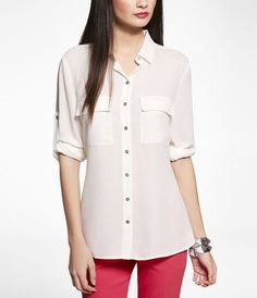 So simple yet cute and versatile - LONG CONVERTIBLE SLEEVE SOFT SHIRT at Express