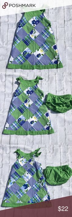 Janie and Jack 18-24 Months patchwork dress Janie and Jack 18-24 mos Hard to find patchwork dress with bloomers Beautiful condition and perfect for spring and summer. 100% Cotton GUC- wore once only flaw is slight color fade from wash on green at bottom of dress. See pic 5 not that noticeable I ship same or next day depending on time of purchase. Janie and Jack Dresses Casual
