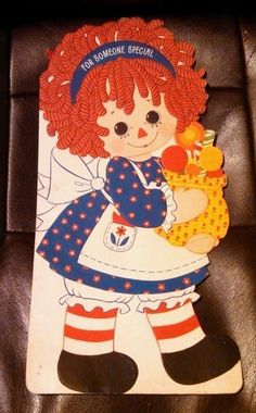 """Large 15"""" 1974 Bobbs-Merrill Someone Special Raggedy Ann Card, Unused"""