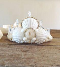 White Mermaid Seashell Crown  Wedding Bride Shower by CinamonGirl, $80.00