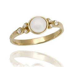 18k Gold Elegant Vintage Style Pearl Engagement Ring by netawolpe, $550.00