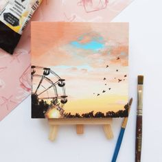 Small Canvas Paintings, Small Canvas Art, Mini Canvas Art, Cute Canvas Paintings, Original Paintings, Unique Paintings, Small Art, Bright Paintings, Diy Canvas