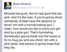 Blake on Miranda's pink guns.