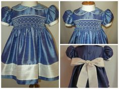 Flagstone and White Silk Hand Smocked Sunday Best Dress