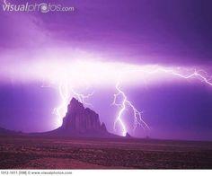 Lightning Strikes at Shiprock New Mexico
