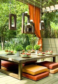 Backyard Patio Design Ideas ~ cushion seating on patio Ideas for maximizing the use of your outdoor living space. Inspiration on small spaces, different design styles, functions, and furniture arrangements
