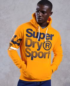 Shop Superdry Mens LA Sporting Hoodie in Bolt Gold. Buy now with free delivery from the Official Superdry Store. Pullover Hoodie, Hoodie Jacket, Hooded Sweatshirts, Hoodie Outfit, Gym Outfit Men, Sport Outfit, Business Casual Attire For Men, Superdry Mens, Superdry Fashion