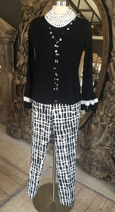 Black Bell Sleeve Blouse with white trim on cuffs