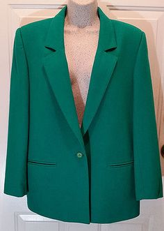 Womens Teal Green Wool Blazer Sz 10 Lined Suit Jacket Single Button Holiday WB4…