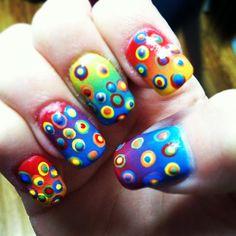rainbow crazy nail design