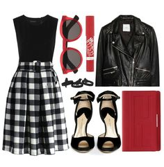 Let's play check! Chicwish Check and Pleats Belted Midi Skirt