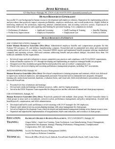 hr generalist resume objective resume samples pinterest