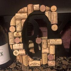 Hanging Wine Cork Letter / Wine Cork Initial / Home Decor / Wine cork monogram / House warming gift / Bar decor / Kitchen decor / Wall decor Wine Cork Monogram, Wine Cork Letters, Wooden Letters, Wine Corker, Wine Cork Jewelry, Wooden Initials, Wine Decor, Cork Crafts, Decoration