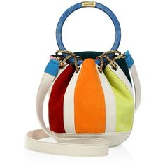 Edie Parker Women's Small Olivia Striped Suede & Linen Bucket Bag featuring polyvore, women's fashion, bags, handbags, shoulder bags, apparel & accessories, multi, multicolor handbags, striped shoulder bag, round purse, suede handbags and white handbags