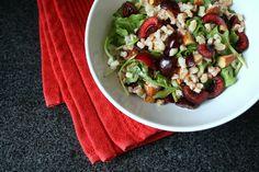 cherry and almond farro salad