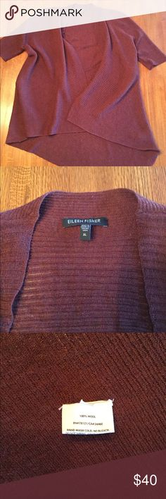 Eileen Fisher Burgundy Merino Wool Cardigan, XL Beautiful 100% merino wool garment from Eileen Fisher. Lovely burgundy color with an open weave. Cardigan has plenty of stretch, but seems to be more of a size L than XL, runs a bit small. Eileen Fisher Sweaters Cardigans