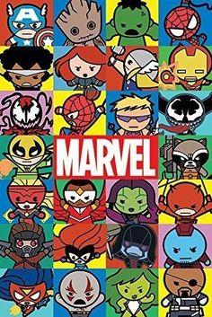 Marvel Kawaii Characters Poster Print Wall Art Large Maxi