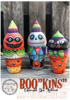 """BOO""""kins"""" by Deb Antonick, email pattern packet Halloween Gourds, Halloween Ornaments, Outdoor Halloween, Diy Halloween Decorations, Halloween Crafts, Halloween Ideas, Halloween Displays, Outdoor Decorations, Fall Decorations"""