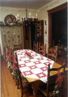Quilts as Tablecloths — Sandy Gervais from Pieces of My Heart designs fabric for Moda. She uses quilts in other places besides on beds. Just scroll down to see several ideas including this classic red and white quilt. She stacks quilts, drapes quilts, even frames quilts. I bet her house is gorgeous. #quilts #tablecloths